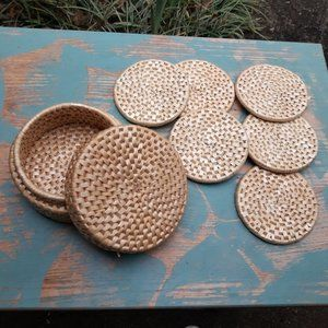 Vintage Wicker Coasters Set with Holder Boho Decor